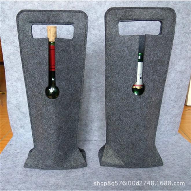 新款单支毛毡红酒袋红酒包装葡萄酒礼盒布袋礼品袋拎袋现货批发示例图8
