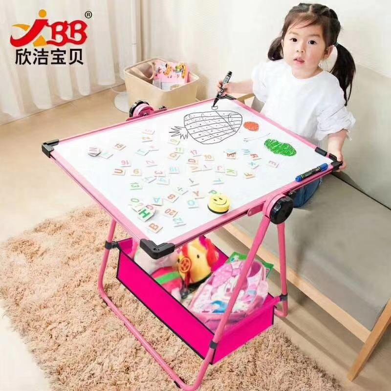 儿童画板可升降支架式小黑板家用双面磁性彩色涂鸦板宝宝写字白板示例图10