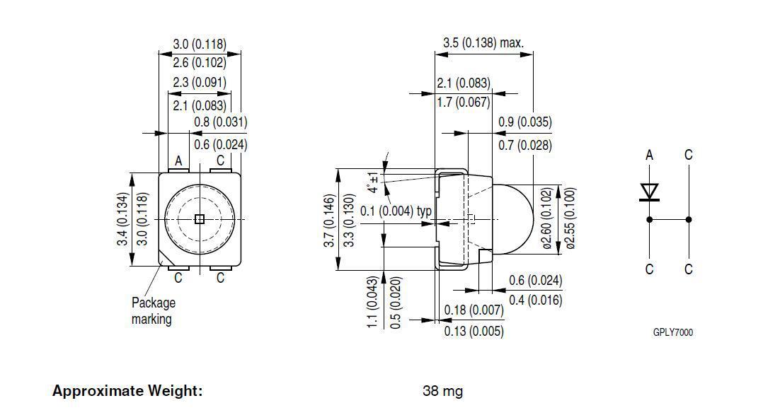 LBE63C-T2V1-35-34  欧司朗OSRAM 3528凸头透镜 四脚蓝色光LED示例图1