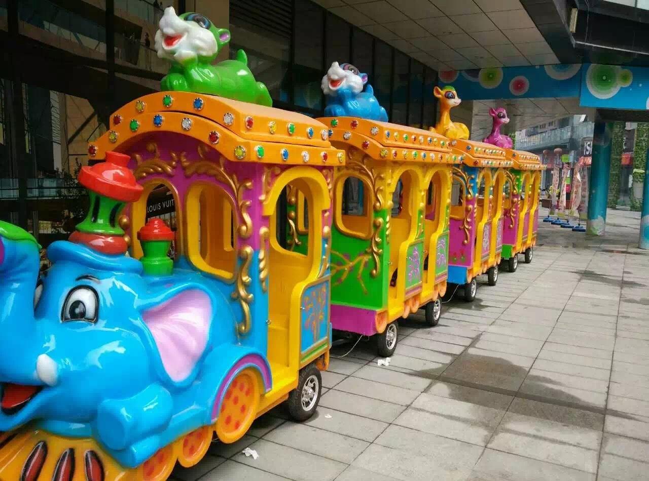 2020大洋新款卡通动画造型无轨大象观光火车 儿童乐园大象观光小火车示例图11