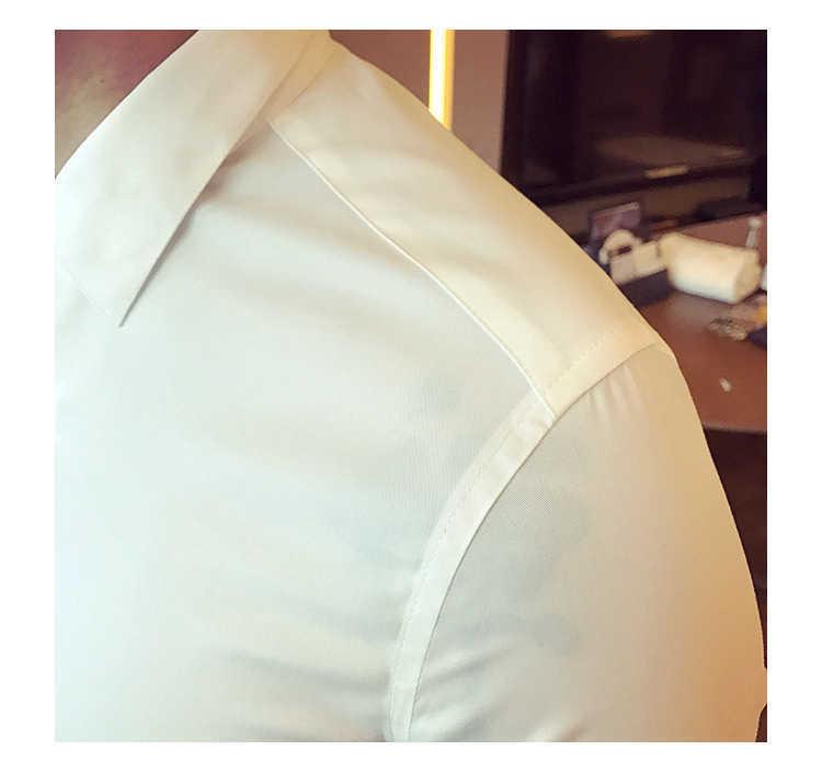 秋季男士长袖白色衬衫修身商务黑色衬衣网红社会潮流衬衫休闲韩版示例图16