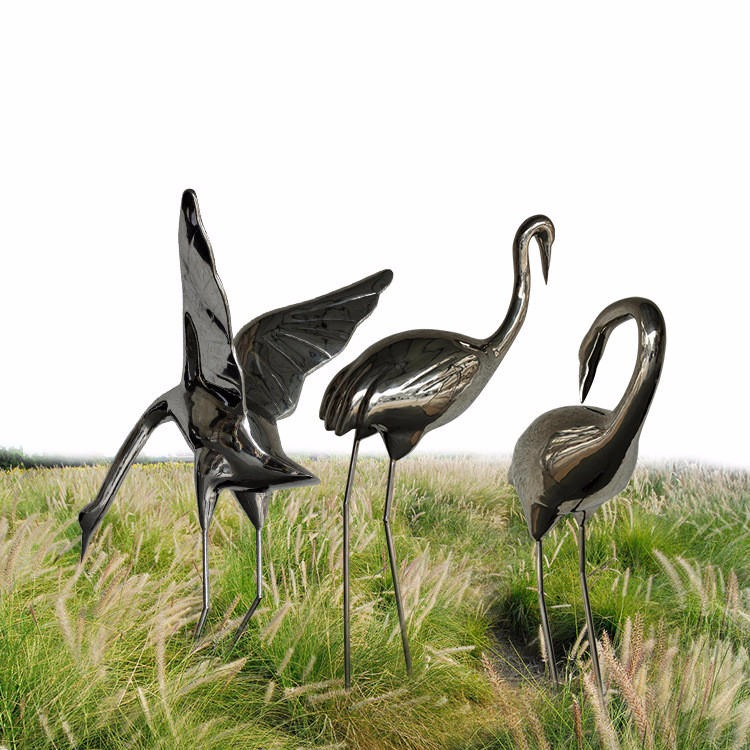 不銹鋼雕塑鶴 不銹鋼仙鶴雕塑 鏡面仙鶴小品 唐韻園林