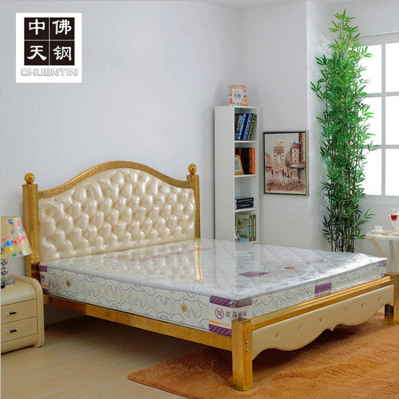 廠家批發 歐式不銹鋼床 彩色不銹鋼床 軟包公寓床