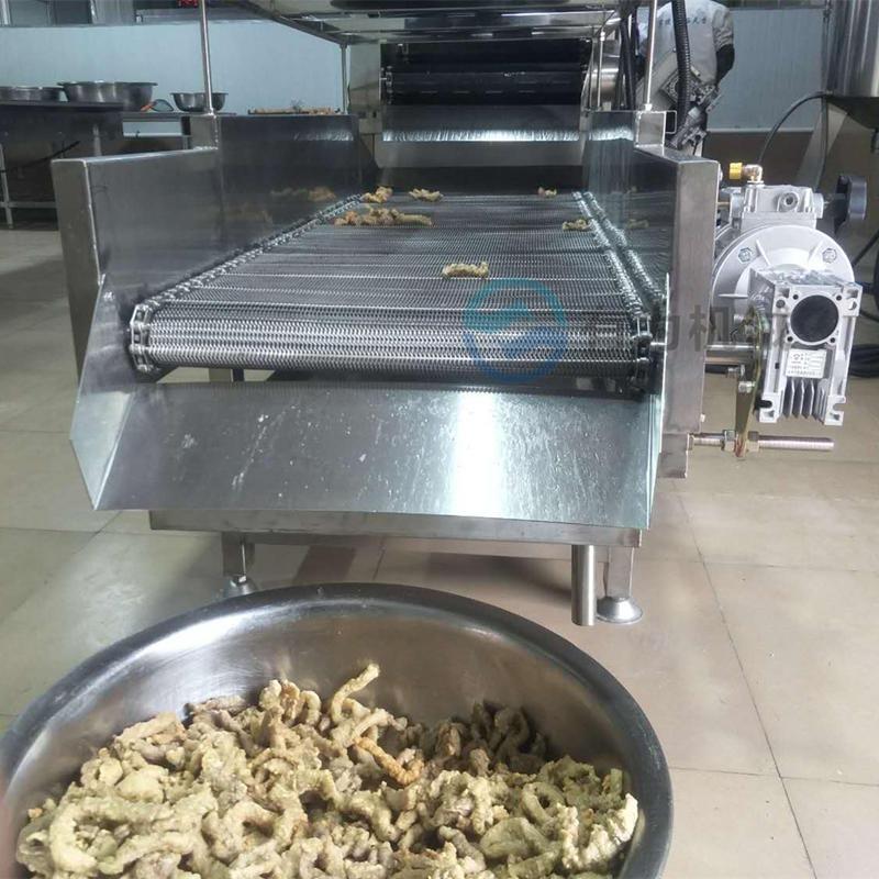 提高产量的小酥肉油炸机 有为机械600型酥肉上浆油炸生产线图片