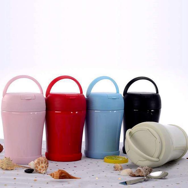 新款手提焖烧壶 可爱时尚保温杯 便携保温饭盒 礼品定制logo图片