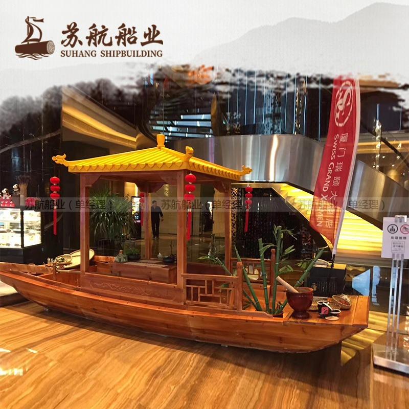 泰州室內裝飾船生產廠家 商場景觀木船 景觀擺臺船 木船單亭船 木質船型展臺